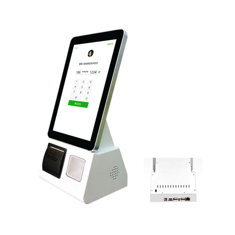 10.1 inch android based self-ordering kiosk terminal with built in barcode scanner and printer